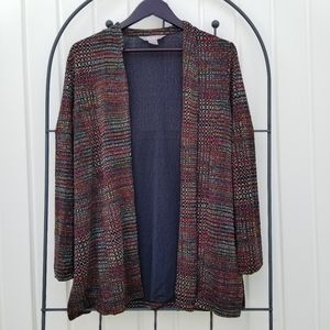 Tanjay open front long sleeve cardigan red/purple